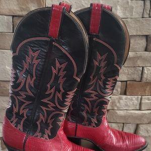 VINTAGE  Tony Lama boots sz 6 c black & red
